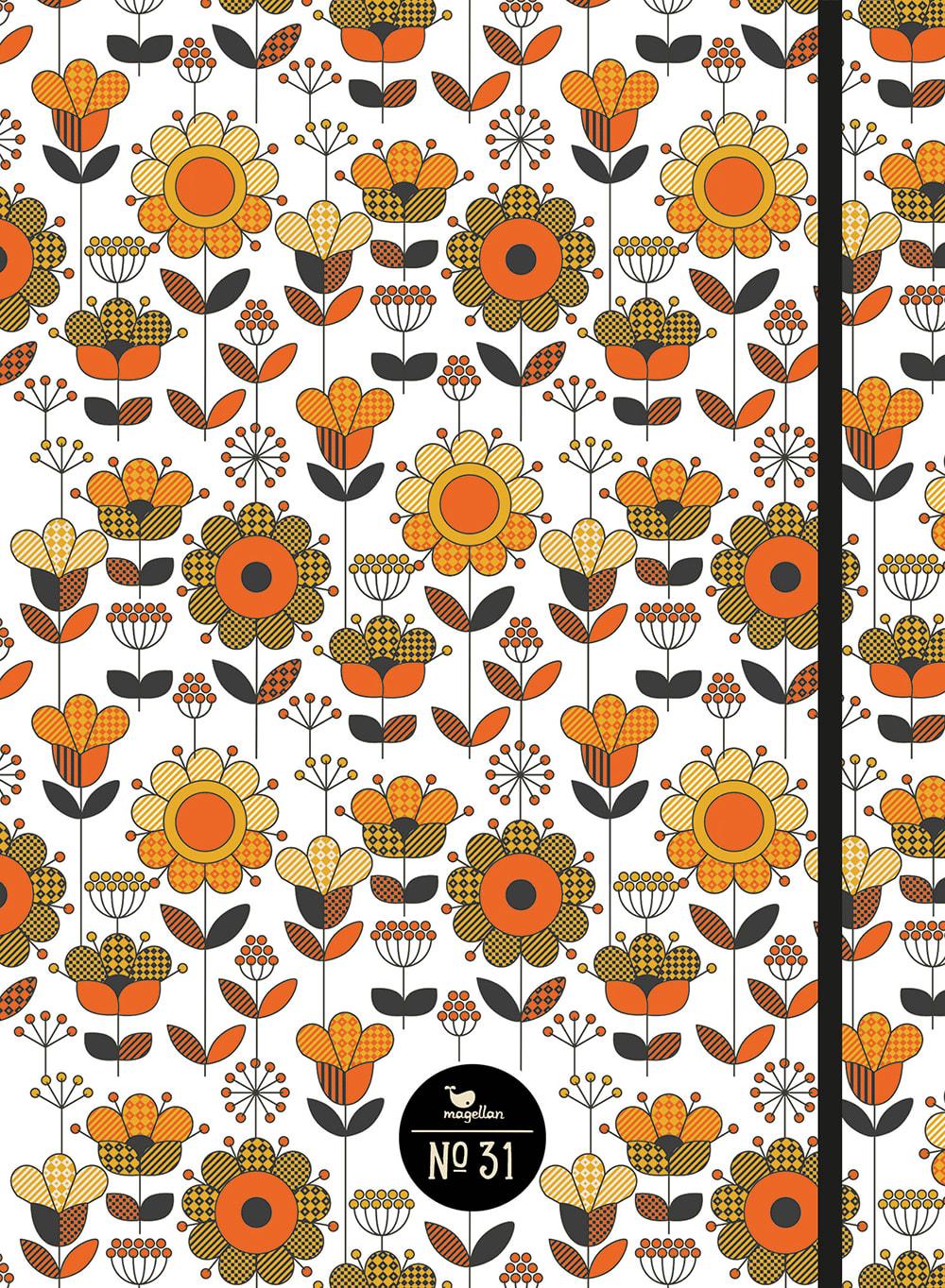 Cover Notizbuch Nummer 31 Retro-Blumen Schönes und Kreatives zum Eintragen
