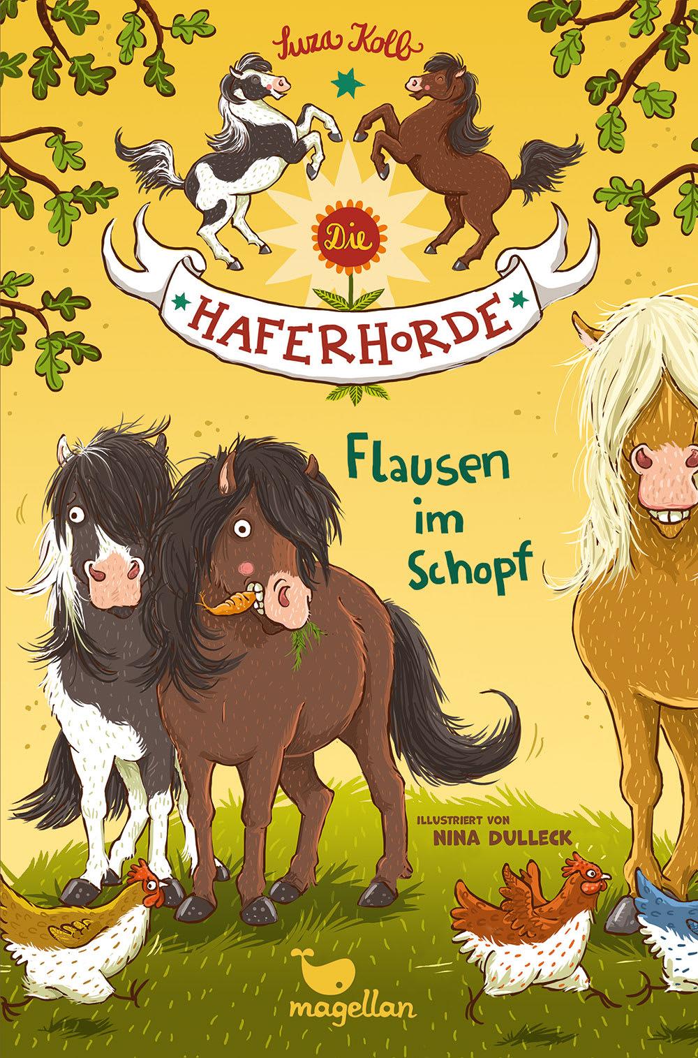 Cover Haferhorde Band 1 Flausen im Schopf Pferdebuch von Suza Kolb