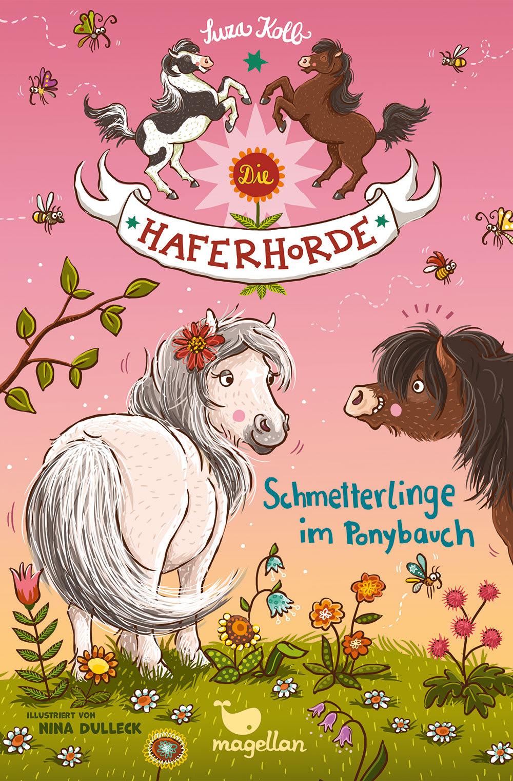 Cover Haferhorde Band4 Schmetterlinge im Ponybauch Pferdebuch von Suza Kolb