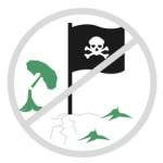Grafik: gefällter Baum und Piratenfahne, die durchgestrichen sind