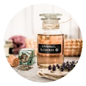 BIO Lavendelblütenbad Flasche selbstgemacht