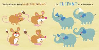 Innenansicht Doppelseite mit farbiger Illustration von Mäusen und Elefanten