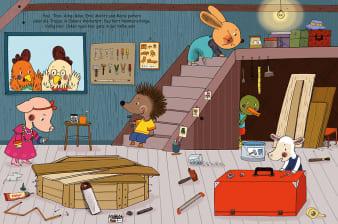 Innenansicht Doppelseite mit farbiger Illustration von verschiedenen Tierkindern in Werkstatt