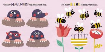 Innenansicht Doppelseite mit farbiger Illustration von Maulwürfen und Bienen mit Blüten