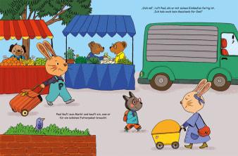 Innenansicht Doppelseite mit farbiger Illustration von Hasen und anderen Tieren auf Markt