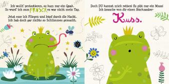 Innenansicht Doppelseite mit farbiger Illustration von Frosch