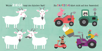 Innenansicht Doppelseite mit farbiger Illustration von Ziegen und Traktoren