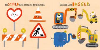 Innenansicht Doppelseite mit farbiger Illustration von Verkehrsschildern und Baggern