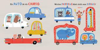 Innenansicht Doppelseite mit farbiger Illustration von verschiedenen Autos