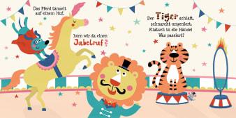 Innenansicht Doppelseite mit farbiger Illustration von Löwe, Tiger und Pferd in Manege