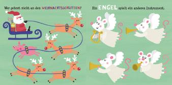 Innenansicht Doppelseite mit farbiger Illustration von Rentieren und Mäuseengeln