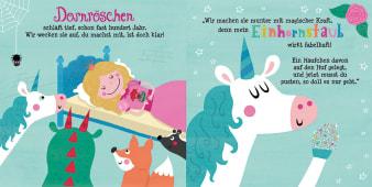 Innenansicht Doppelseite mit farbiger Illustration von Prinzessin im Bett und Tieren davor