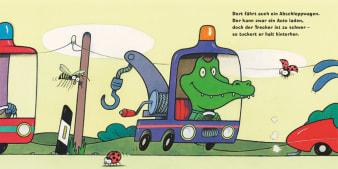 Innenansicht Doppelseite mit farbiger Illustration von Auto mit Korokodil darin
