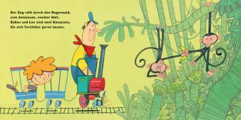 Innenansicht Doppelseite mit farbiger Illustration eines Zuges in Richtung Dschungel