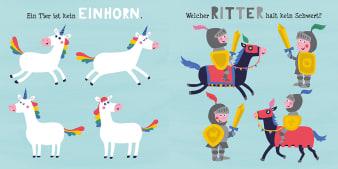 Innenansicht Doppelseite mit farbiger Illustration von Einhörnern und Rittern auf Pferden