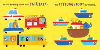 Innenansicht Doppelseite mit farbiger Illustration von verschiedenen Fahrzeugen und Schiffen