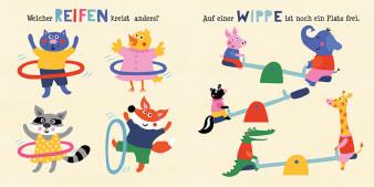Innenansicht Doppelseite mit farbiger Illustration von Tierkindern mit Reifen und auf Wippen