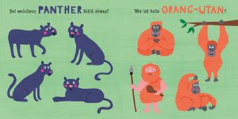 Innenansicht Doppelseite mit farbiger Illustration von Panthern und Orang-Utans
