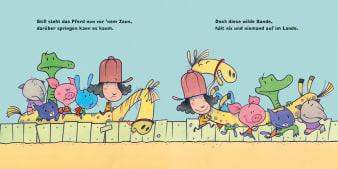 Innenansicht Doppelseite mit farbiger Illustration von Kindern mit Pferd