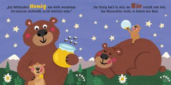 Innenansicht Doppelseite mit farbiger Illustration von Murmeltierkind und Mama