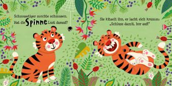 Innenansicht Doppelseite mit farbiger Illustration von lachendem Tiger