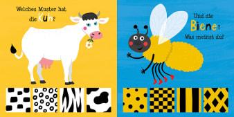 Innenansicht Doppelseite mit farbiger Illustration einer Kuh und einer Biene ohne Fellmuster