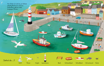 Innenansicht Doppelseite mit farbiger Illustration von Schiffen am Hafen