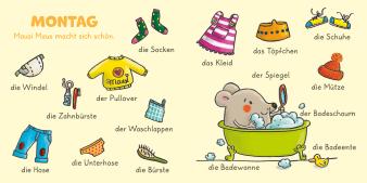 Innenansicht Doppelseite mit farbiger Illustration von verschiedenen Gegenständen