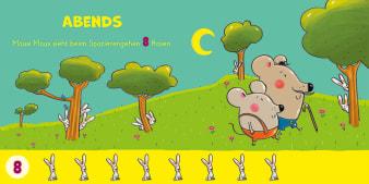 Innenansicht Doppelseite mit farbiger Illustration von Mäusen und versteckten Hasen