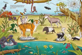 Innenansicht Doppelseite mit farbiger Illustration von verschiedenen Tieren an Land und im Wasser