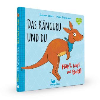 Cover Das Känguru und du Band1 Hüpf hüpf ins Bett Gutenachtgeschichte Pappbilderbuch von Susanne Weber und Meike Töpperwien