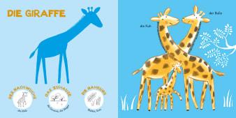 Innenansicht Doppelseite mit farbiger Illustration von Giraffen