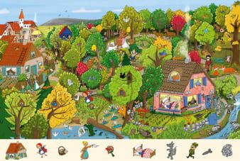 Innenansicht Doppelseite mit farbiger Illustration eines Dorfes