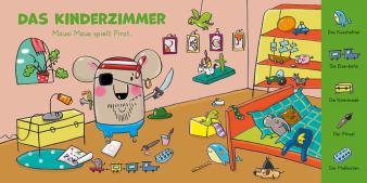 Innenansicht Doppelseite mit farbiger Illustration von Maus mit Gegenständen