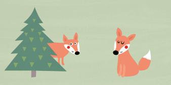 Innenansicht Doppelseite mit farbiger Illustration von Fuchs