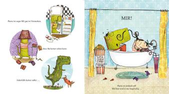 Innenansicht Doppelseite mit farbiger Illustration von Dino in Verstecken und in der Badewanne