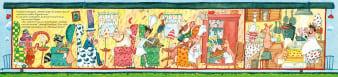 Innenansicht Doppelseite mit farbiger Illustration von Räumen im Zug mit Menschen und Tieren darin