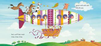 Innenansicht Doppelseite mit farbiger Illustration eines Zeppelins mit Tieren