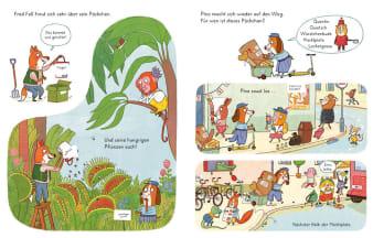 Innenansicht Doppelseite mit farbiger Illustration von verschiedenen Tieren im Garten und in der Stadt
