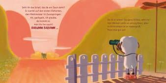 Innenansicht Doppelseite mit farbiger Illustration von Schaf am Zaun