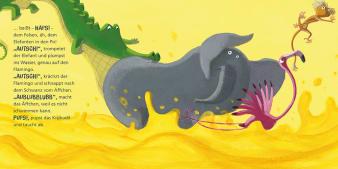 Innenansicht Doppelseite mit farbiger Illustration von Krokodil, Elefant, Flamingo und Affe