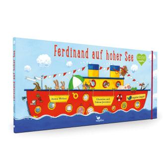 Cover Ferdinand auf hoher See Wimmelbuch Bilderbuch von Anna Weber, Fabian und Christian Jeremies