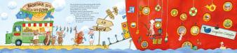 Innenansicht Doppelseite mit farbiger Illustration eines Schiffs mit Tieren am Eingang