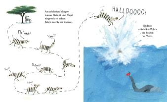 Innenansicht Doppelseite mit farbiger Illustration von renndem Zebra und Sprung in den Teich