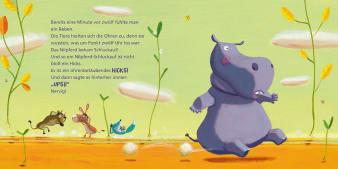 Innenansicht Doppelseite mit farbiger Illustration eines hüpfenden Nilpferds