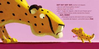Innenansicht Doppelseite mit farbiger Illustration von Gepard und Chamäleon