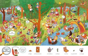 Innenansicht Doppelseite mit farbiger Illustration von verschiedenen Tieren im Park