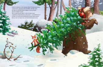 Innenansicht Doppelseite mit farbiger Illustration eines Bären mit Tannenbaum auf den Schultern