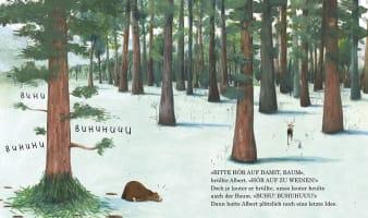 Innenansicht Doppelseite mit farbiger Illustration von Bär im winterlichen Wald