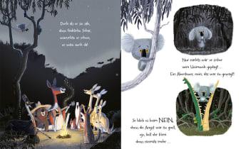 Innenansicht Doppelseite mit farbiger Illustration von Tieren bei Nacht im Dschungel und von Koala